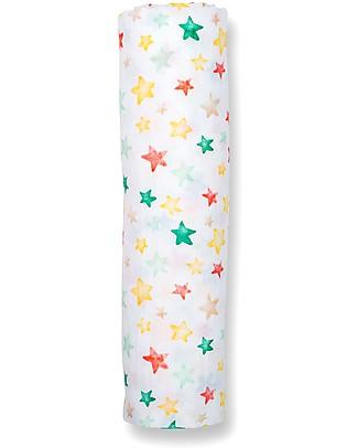 Lulujo Baby Copertina Swaddle 120 x 120 cm, Pioggia di Stelle - 100% mussola di cotone  Copertine Swaddles