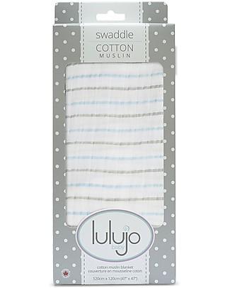 Lulujo Baby Copertina Swaddle 120 x 120 cm, Righe Blu - 100% mussola di cotone  Copertine Swaddles