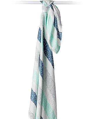 Lulujo Baby Copertina Swaddle 120 x 120 cm, Variegato Blu - Mussola di bambù Copertine Swaddles