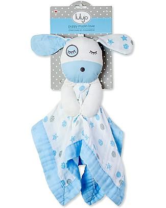 Lulujo Baby Doudou Cagnolino Azzurro - Mussola di Cotone - Il Primo Amico del Tuo Bebè! Coperte
