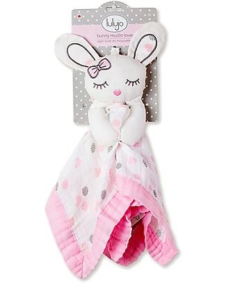 Lulujo Baby Doudou Coniglietto Rosa - Mussola di Cotone - Il Primo Amico del Tuo Bebè! Coperte