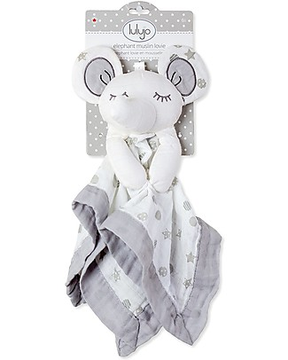 Lulujo Baby Doudou Elefante Grigio - Mussola di Cotone - Il Primo Amico del Tuo Bebè! Coperte