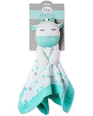 Lulujo Baby Doudou Giraffa Verde Acqua - Mussola di Cotone - Il Primo Amico del Tuo Bebè! Coperte