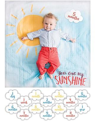 Lulujo Baby Kit Primo Anno - Copertina + 14 Cards, You Are my Sunshine - Per i bebé più social! Copertine Swaddles
