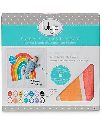 Lulujo Baby Kit Primo Anno - Copertina Swaddle in Mussola di Cotone + 14 Cards, A Dream Come True - Per i bebé più social! Album Dei Ricordi