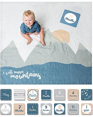 Lulujo Baby Kit Primo Anno - Copertina Swaddle in Mussola di Cotone + 14 Cards, I Will Move Mountains - Per i bebé più social! Copertine Swaddles