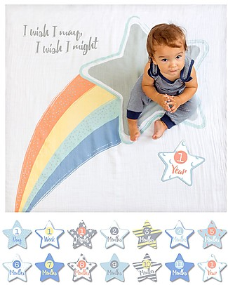 Lulujo Baby Kit Primo Anno - Copertina Swaddle in Mussola di Cotone + 14 Cards, I Wish I May - Per i bebé più social! Copertine Swaddles