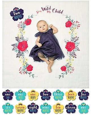 Lulujo Baby Kit Primo Anno - Copertina Swaddle in Mussola di Cotone + 14 Cards, Stay Wild My Child - Per i bebé più social! Album Dei Ricordi