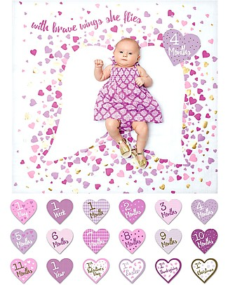 Lulujo Baby Kit Primo Anno Deluxe - Copertina + 18 Cards, With Brave Wings She Flies - Per i bebé più social! Album Dei Ricordi