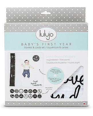 Lulujo Baby OUTLET - Kit Primo Anno - Copertina Swaddle in Mussola di Cotone + 14 Cards, Loved Beyond Measure - Per i bebé più social! Album Dei Ricordi