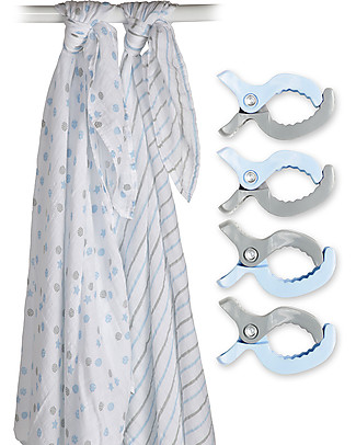 Lulujo Baby Set di 2 Copertine Swaddle 120 x 120 cm + 4 Clips, Azzurro - 100% mussola di cotone Copertine Swaddles