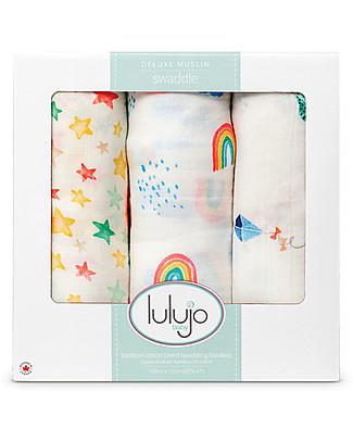 Lulujo Baby Set di 3 Copertine 120 x 120 cm, High in the Sky - Mussola di bambù Copertine Swaddles