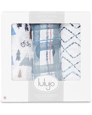 Lulujo Baby Set di 3 Copertine 120 x 120 cm, Navy Mountain - Mussola di cotone Copertine Swaddles