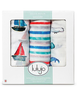 Lulujo Baby Set di 3 Copertine 120 x 120 cm, Out at the Sea - Mussola di bambù Copertine Swaddles