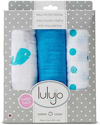 Lulujo Baby Set di 3 Copertine 70 x 70 cm, Brilliant Blues - 100% mussola di cotone Copertine Swaddles