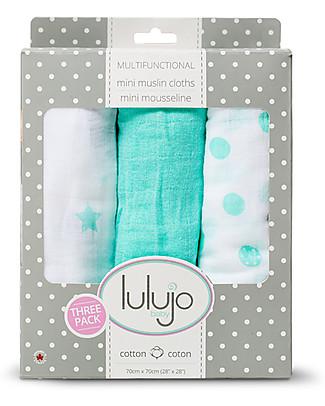 Lulujo Baby Set di 3 Copertine 70 x 70 cm, Dreamland - 100% mussola di cotone Copertine Swaddles