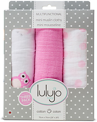 Lulujo Baby Set di 3 Copertine 70 x 70 cm, Owls Always Love You - 100% mussola di cotone Copertine Swaddles