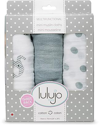 Lulujo Baby Set di 3 Copertine 70 x 70 cm, Safari - 100% mussola di cotone Copertine Swaddles