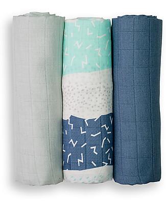 Lulujo Baby Set di 3 Copertine 70 x 70 cm, Variegato Blu - 100% mussola di bambù Copertine Swaddles