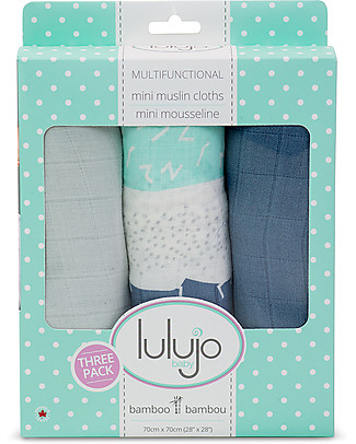 Lulujo Baby Set di 3 Copertine 70 x 70 cm, Variegato Blu - 100% mussola di cotone Copertine Swaddles