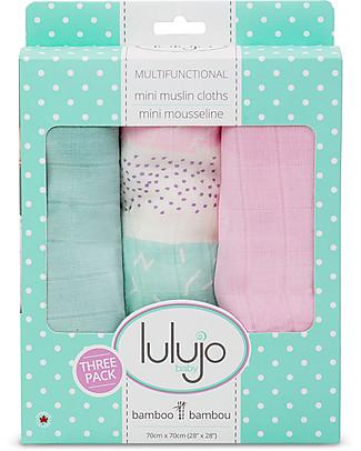 Lulujo Baby Set di 3 Copertine 70 x 70 cm, Variegato Rosa - 100% mussola di bambù Copertine Swaddles