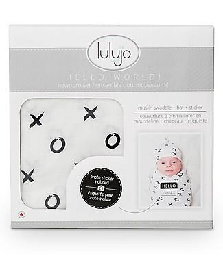 Lulujo Baby Set Hello World, Cappellino + Swaddle, Baci e Abbracci, 120 x 120 cm - Bambù Copertine Swaddles