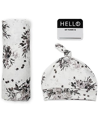 Lulujo Baby Set Hello World, Cappellino + Swaddle, Black Floral, 120 x 120 cm - Bambù Copertine Swaddles