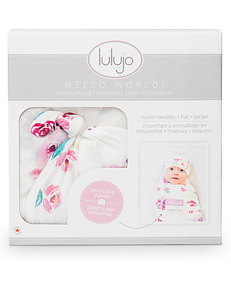 Lulujo Baby Set Hello World, Cappellino + Swaddle, Rose, 120 x 120 cm - Bambù Copertine Swaddles