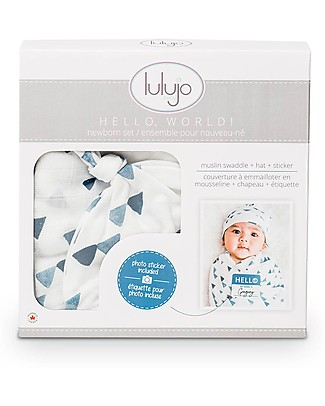 Lulujo Baby Set Hello World, Cappellino + Swaddle, Triangoli Blu, 120 x 120 cm - Bambù Copertine Swaddles