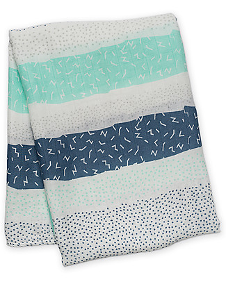 Lulujo Baby Swaddle Blanket 120 x 120 cm, Blue Stripes - Bamboo muslin Swaddles