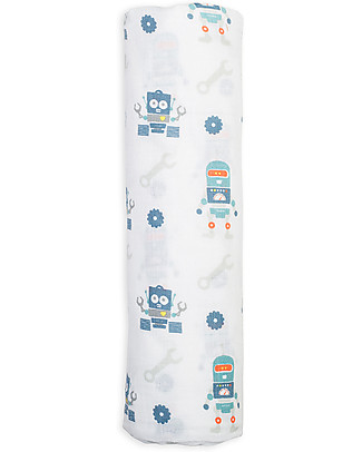 Lulujo Baby Swaddle Blanket 120 x 120 cm, Robots - 100% cotton muslin Swaddles