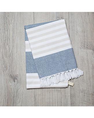 Lulujo Baby Turkish Towel, Asciugamano 100 x 150 cm, Blu-Ocra - 100% cotone Accappatoi e Asciugamani
