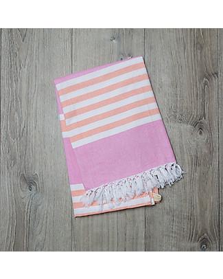 Lulujo Baby Turkish Towel, Asciugamano 100 x 150 cm, Rosa-Albicocca - 100% cotone Accappatoi e Asciugamani