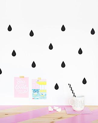 Made of Sundays Adesivi da Parete – Gocce Raindrops Nere – Sicuri e Senza PVC Adesivi Da Parete