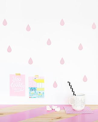 Made of Sundays Adesivi da Parete – Gocce Raindrops Rosa – Sicuri e Senza PVC Adesivi Da Parete