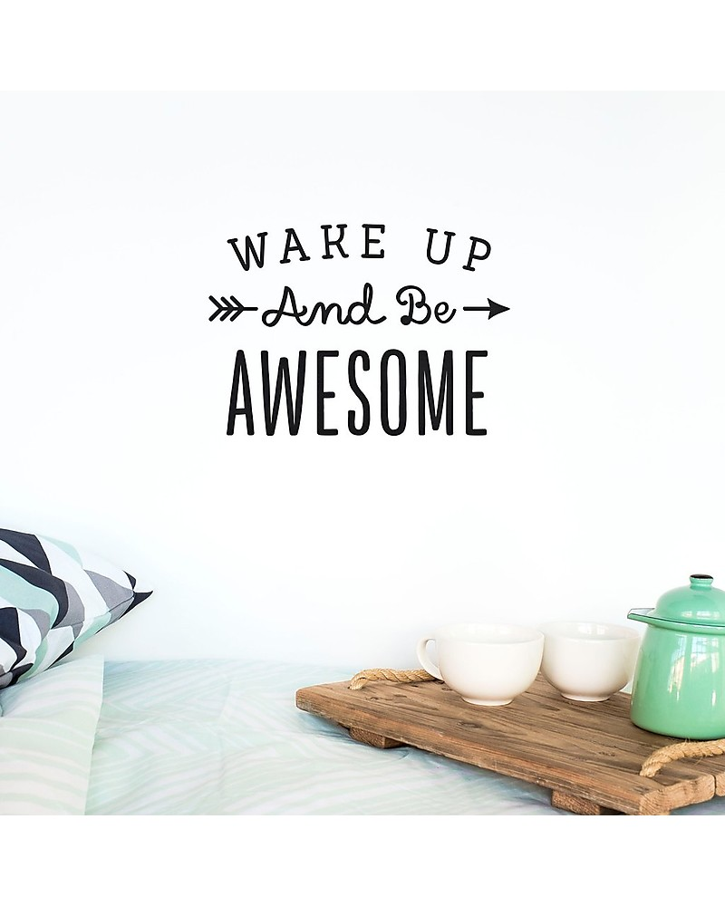 Made of sundays adesivo da parete wake up and be awesome   nero ...