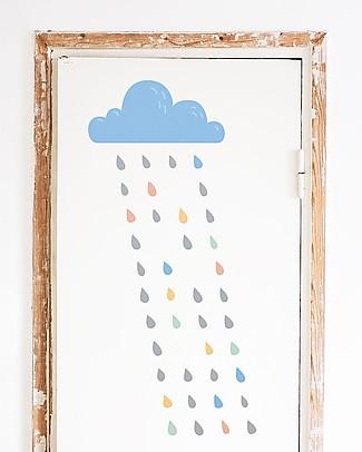 Made of Sundays Eco-Adesivi da Parete in Tessuto – Nuvoletta Sunday's Rain – Riposizionabili e Sicuri! Adesivi Da Parete