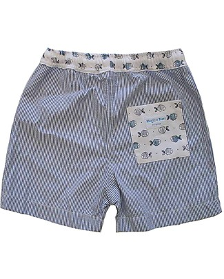 Maghi e Maci Firenze Costume a Pantaloncino, Pesciolini/Righe - 100% Cotone, Fatto a Mano Costumi a Pantaloncino