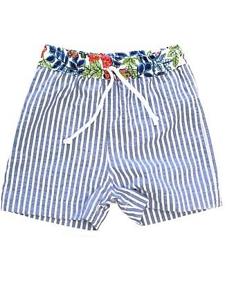 Maghi e Maci Firenze Costume a Pantaloncino, Righe/Fiori - 100% Cotone, Fatto a Mano Costumi a Pantaloncino