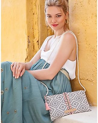 Mara Mea Borsetta a Tracolla Glitter Party - Bianco e Blu - 100% Cotone Borse Tracolla
