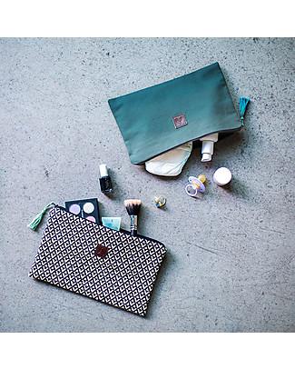 Mara Mea Bustina Street Life, Ecru/Nero – Tela di Cotone, 26x18 cm Trousse & Pochette