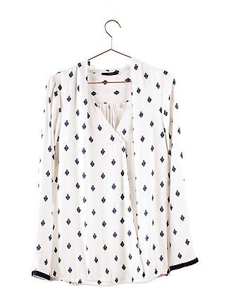 Mara Mea Camicia Maternità e Allattamento Mosaic Maze, Bianco - 100% crepe Camicie