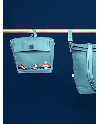 Mara Mea Cartella/Tracolla 2-in-1, 25 x 21 cm, Zig Zag Wanderer Acqua - 100% tela di cotone impermeabilizzato Zainetti
