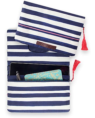 Mara Mea Diaper Clutch Having a Picnic –Navy/White Stripes - Cotton Canvas Diaper Changing Bags & Accessories