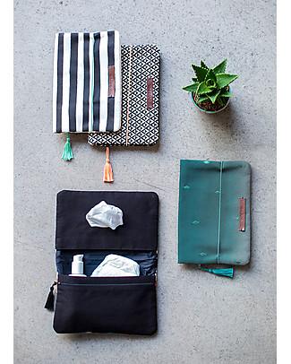 Mara Mea Pochette Porta Pannolini Palm Garden –Tela di Cotone ricamata a mano! Borse Cambio e Accessori
