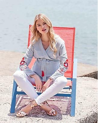 Mara Mea Staycation, Blusa Maternità e Allattamento, Righe Blu - 100% cotone Camicie