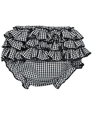 Maria Bianca Bloomers Bimba a Quadretti, Vichy Nero - 100% Cotone Pantaloni Corti