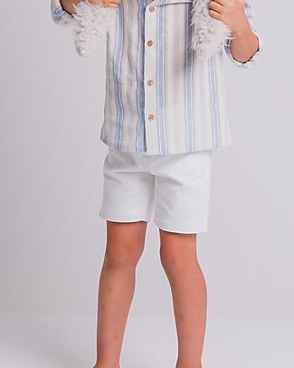 Maria Bianca Pantaloni Corti con Bottone in Legno, Bianco - 100% twill di cotone Pantaloni Corti