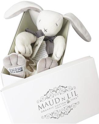 Maud N Lil DouDou Comforter in Cotone con Confezione Regalo! - Coniglio Grigio - 100% Cotone Bio Doudou