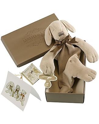 Maud N Lil DouDou Comforter in Cotone con Confezione Regalo! - Puppy Grigio - 100% Cotone Bio Doudou